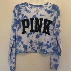 PINK cropped tie dyed L/S top size M